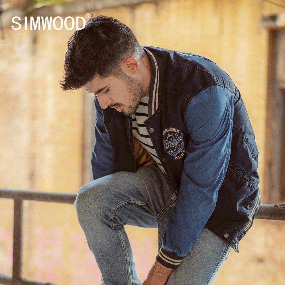 SIMWOOD 2020 spring Winter New Indigo Bomber Jacket Men Fashion  embroidery baseball contrast jackets fashion Vintage coats  90372Jackets
