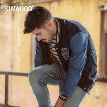 Simwood 2020 primavera inverno nova indigo bombardeiro jaqueta masculina moda bordados de beisebol contraste jaquetas moda vintage casacos 90372