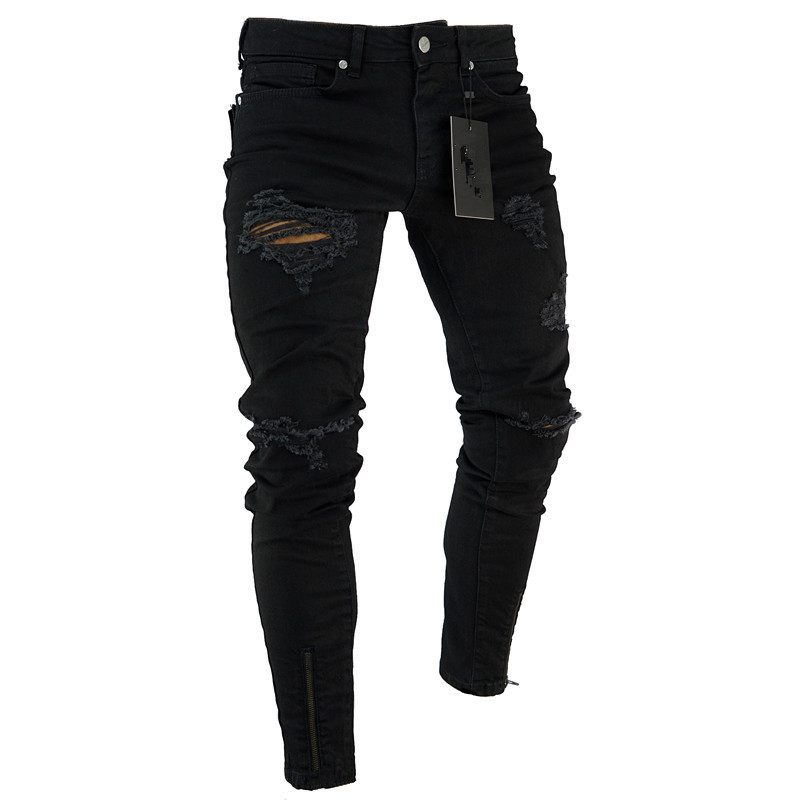 Zipper Jeans Pants Bottom Skinny Fit Stretch Distressed Hip-Hop Knee-Ripped Black Men title=