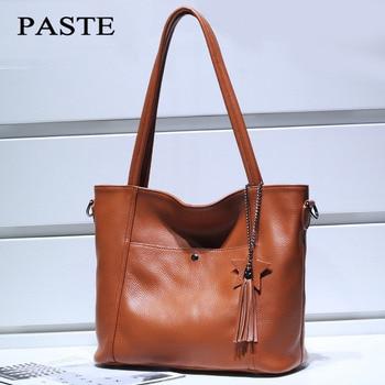 High quality Genuine Leather Tote Women's Messenger bags Tassel Designer Soft Cow Leather Handbag Women's Shoulder Crossbody bag