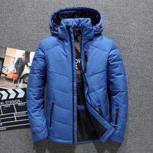 Nova marca jaqueta de inverno dos homens chapéu destacável zíper 90% pato branco grosso para baixo jaqueta casaco de neve parkas masculino 4 cores