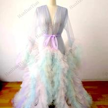 2021 Ladies colorful robe see-through pure gown fluffy sweet photography