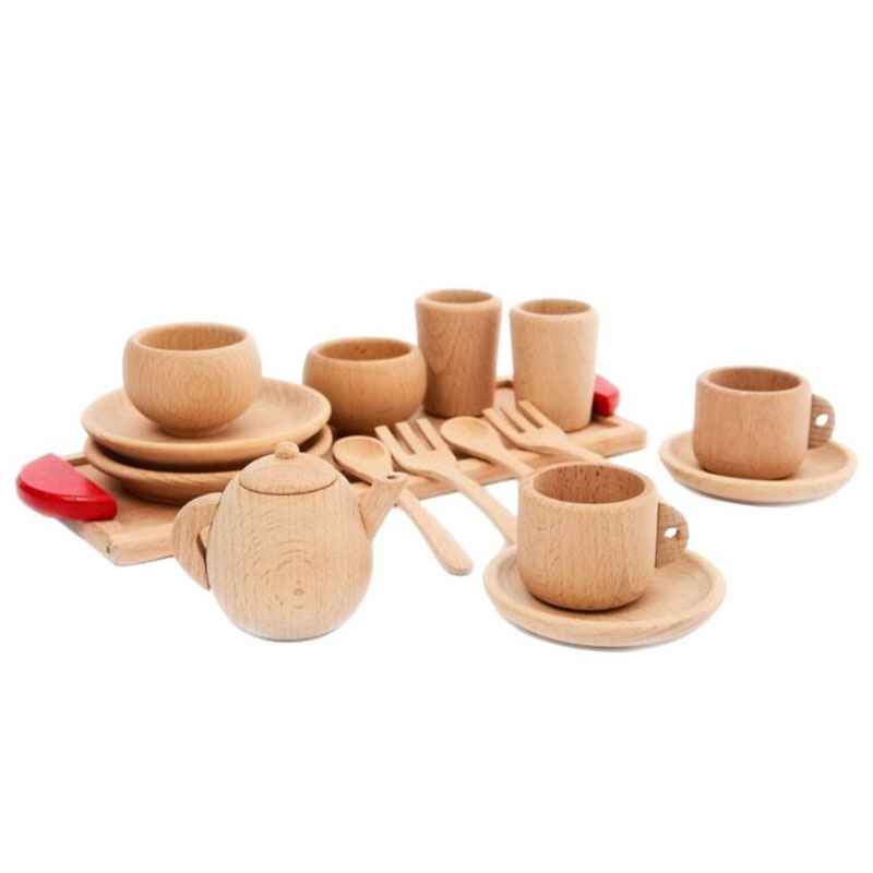 Wooden Tableware Tools Tea Pot Tea Cup Teatime Party Play Toy Dollhouse Miniature Kitchen Tableware Accessories for Kids Toys