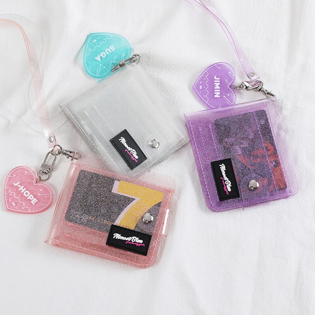2020 Cute Women Transparent PVC Clear Short Purse Pocket Girl Mini Glitter Halter Fold Wallet Card Holder Fashion ID Card Bag