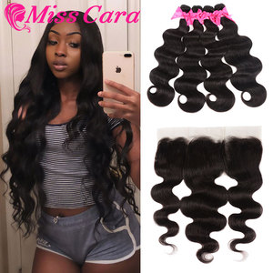 Image 1 - Brazilian Body Wave Bundles With Frontal 100% Remy Human Hair Bundles 3/4 With Frontal Miss Cara 13X4 Lace Frontal With Bundles