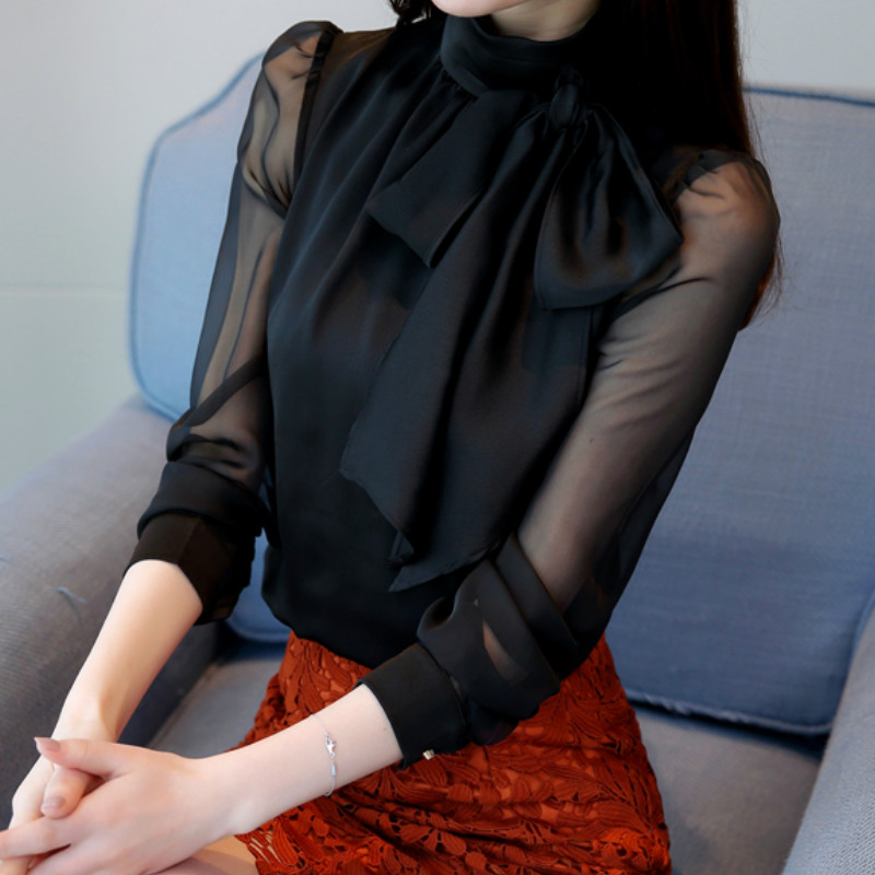Long Sleeve Tie Bow Chiffon Turtleneck Blouse Shirt 3