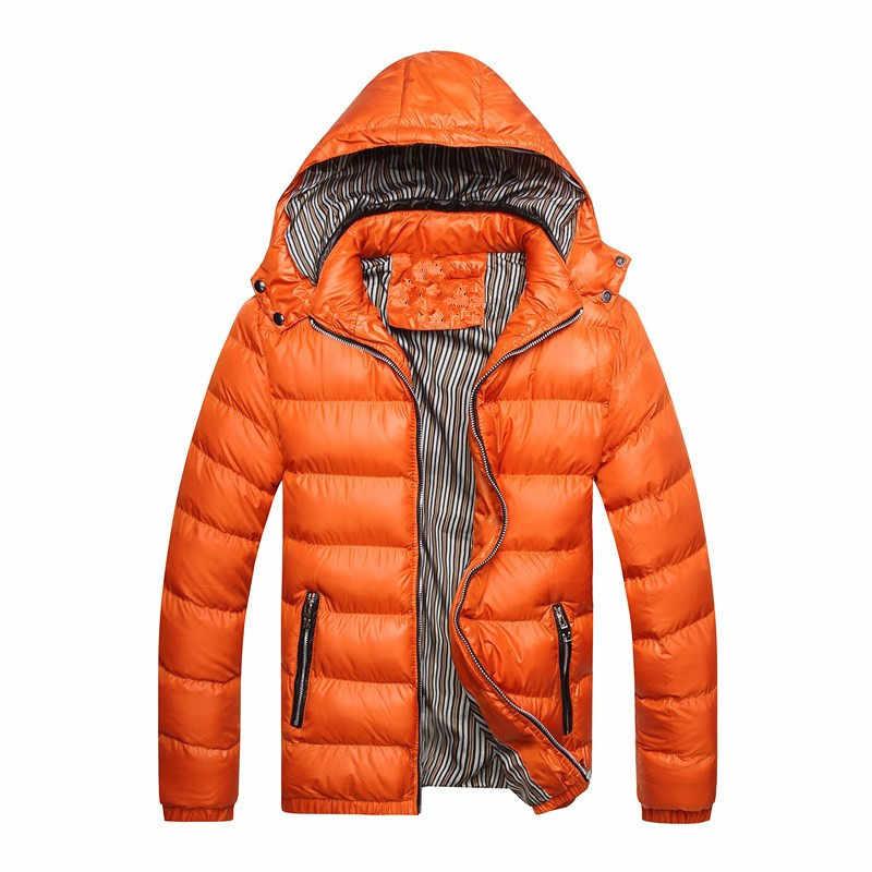MJARTORIA 신사복 겨울 자켓 패션 후드 써멀 다운 코튼 파커 남성 캐주얼 후드 브랜드 의류 웜 코트 플러스 사이즈