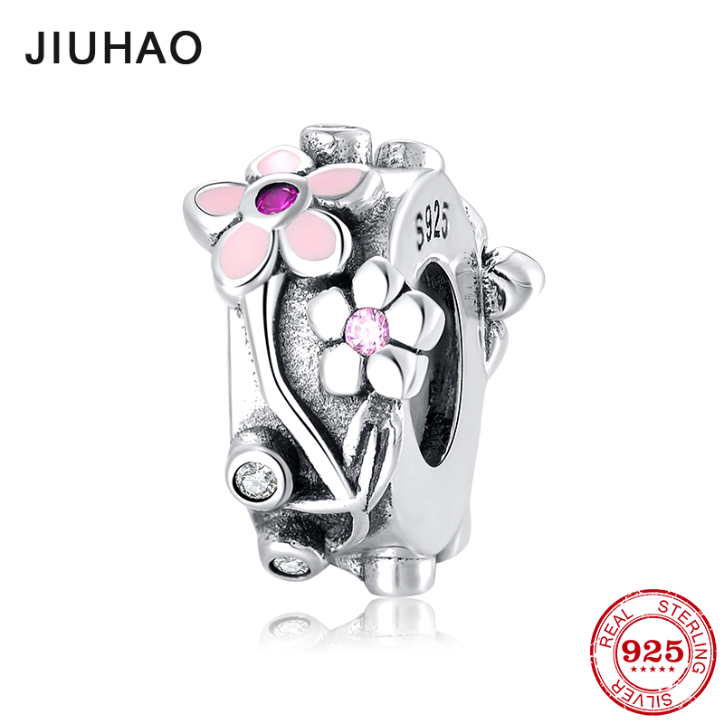 Spring beautiful flowers 925 Sterling Silver pink CZ Stopper spacer beads Fit Original European Charm Bracelet Jewelry making