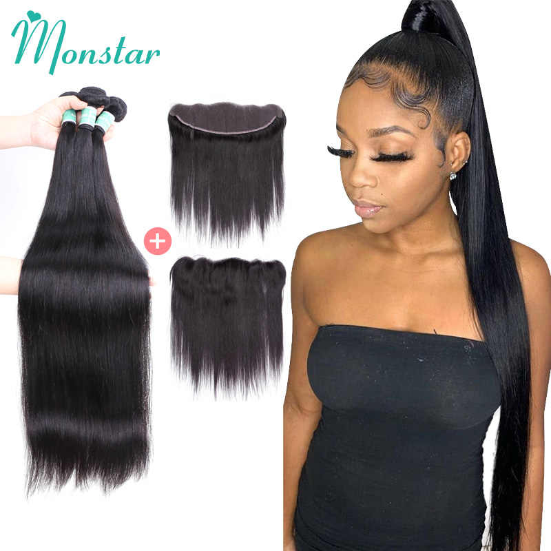 Monstar 28 30 40 Inch Straight Human Hair Bundles With Frontal Remy Brazilian Hair Weave Bundles With 13x4 Lace Frontal Closure