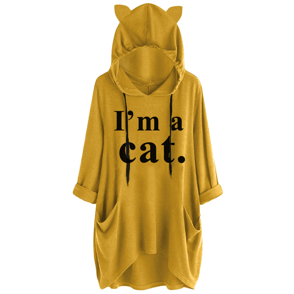 2019 Women Casual Hoodies Print Cat Ear Hooded Long Roll Up Sleeve Pocket Irregular Top Blouse