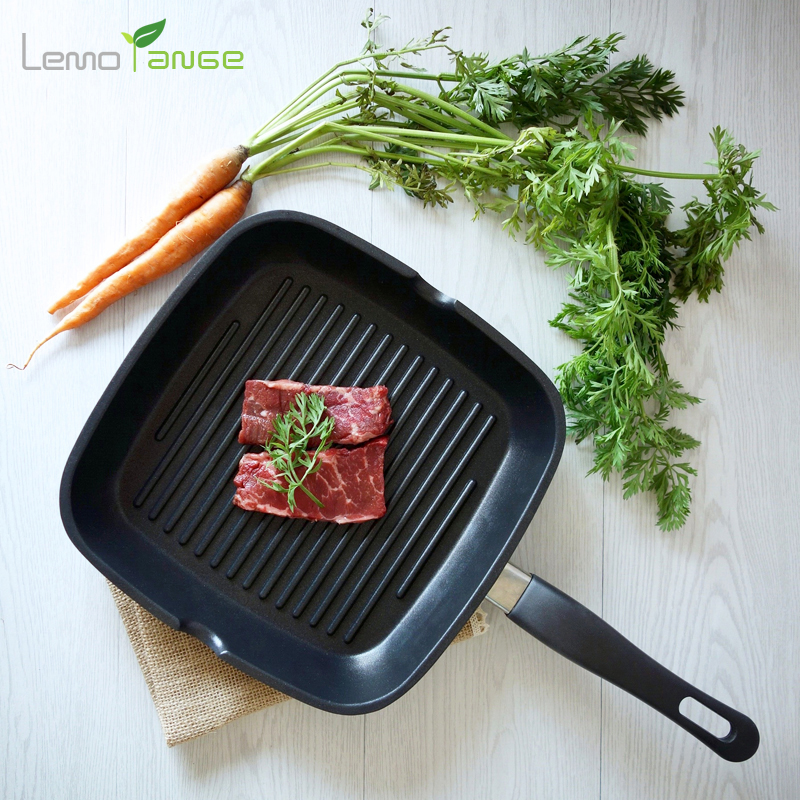 Steak Frying Pan Lemorange Striped General Use For Gas And Induction Cooker Non-stick Long Handle Home Kitchen Fryer TQQ0081