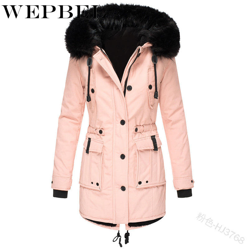 WEPBEL femmes Parka à manches longues automne hiver décontracté fourrure à capuche bouton fermeture éclair poches dames chaud épais Parkas manteau vestes