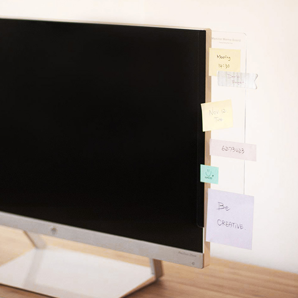 2PCS Computer Memo Board For Sticky Notes Tabs Computer PC Monitors Side Panel Plastic Monitor Message Information Memo Board