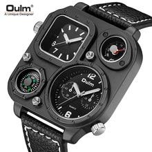 Oulm Men's Watches Quartz Fashion Compass Large Dial Dual Time Zone Belt Square Watch