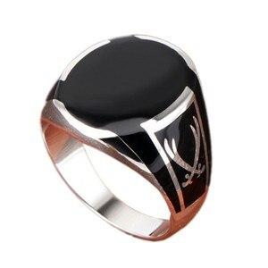Мужское кольцо с черным агатом BOCAI, кольцо из чистого серебра 925 пробы с драгоценным камнем
