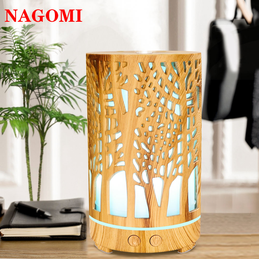 200ML Ultrasonic Air Humidifier Wood Grain Cylinder Aromatherapy Essential Oil Diffuser 7 LED Color Light Change For Home SPA