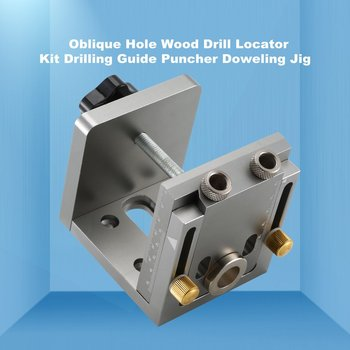 Deluxe  57PCS Oblique Hole Wood Drill Locator Kit Drilling Guide Puncher Doweling Hole Saw Jig System Woodworking Tools Sale