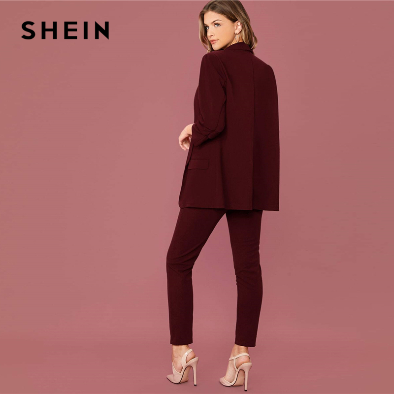 SHEIN Burgundy Shawl Collar Solid Blazer and Paperbag Waist Pants Suit Set Women Spring Elegant Office Lady Two Pieces Sets 2