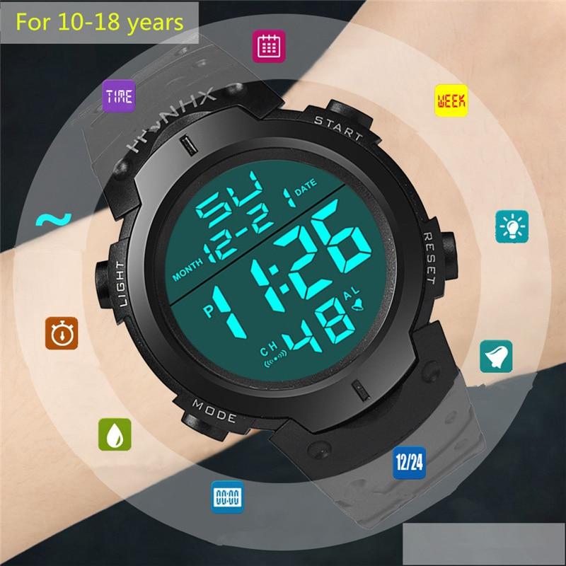 For 10-18 Years Man Watch Sports Student Big Screen Digital Clock Eye Protection Mode Men Wrist Watch Sports Style Children's G