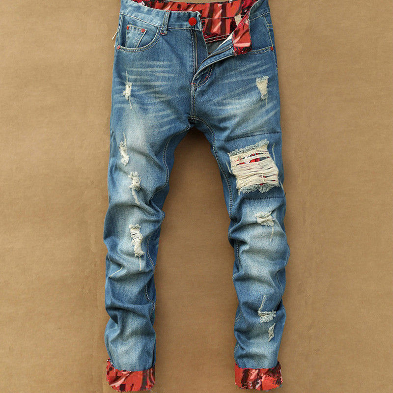 Men Blue Motorcycle Hole Jeans Men Motorcycle Hole Jeans Jeans Jeans Pants Fashion Brand Leather Boots Hole Motorcycle Jeans