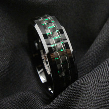 8mm Fashion 316 Stainless Steel Men Ring Green Blue Red Brushed Trapezoidal Tungsten Carbon Fiber Rings for Men Wedding Jewelry 6mm 8mm carbon fiber inlay tungsten carbide ring men wedding band polished edges engagement rings for women fashion bague homme