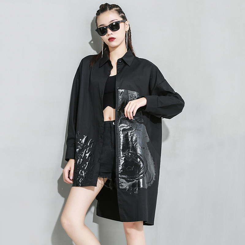 [EAM] Women White Pattern Printed Big Size Long Blouse New Lapel Long Sleeve Loose Fit Shirt Fashion Spring Autumn 2020 1R933