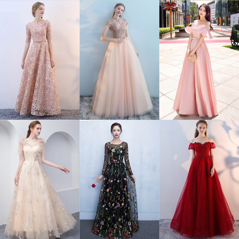 In Stock Black Floral Long Sleeves Appliques Elegant Zipper Party Formal Dress Floor Length Evening Dresses LX102 More Styles