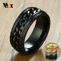 Vnox 8mm Cool Black Spinner Chain Ring for Men Tire Texture Stainless Steel Rotatable Links Punk Male Anel
