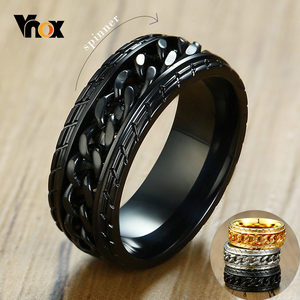 Vnox 8mm Cool Black Spinner Chain Ring for Men Tire Texture Stainless Steel Rotatable Links Punk Male Anel(China)