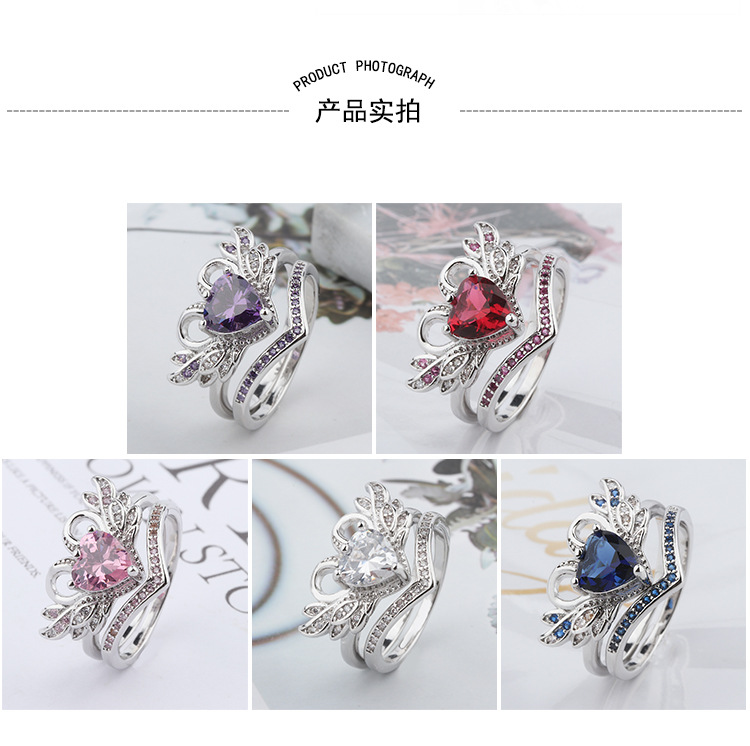 5 Colors 2/Pcs/set 2018 Fashion Crown Swan Shape Ring Lady Ring Women's Engagement Wedding Rings Female Party Jewelry Size 5-12