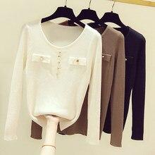 Ljsxls casual outono feminino camisola pulôveres roupas de inverno manga longa botão o-pescoço blusas chiques feminino fino malha jumper fino