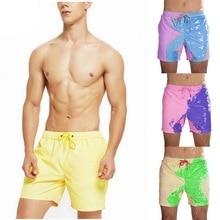 Color-changing Beach Shorts Men Tie Dye Swimwear Beach Pants Warm Color Discoloration Shorts Swim Surfing Board Shorts