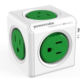 Convenient PowerCube Child Proof Sockets Space Saving Surge Protection US Plug 4 Outlets Dural USB Cellphone Charger Office image