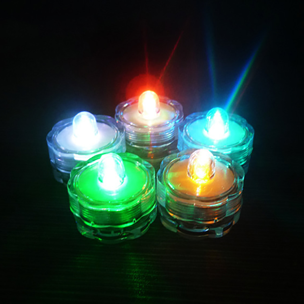 12pcs LED Waterproof Candle Light Battery Operated Submersible Underwater Light For Fish Tank Pond Swimming Pool Wedding Party
