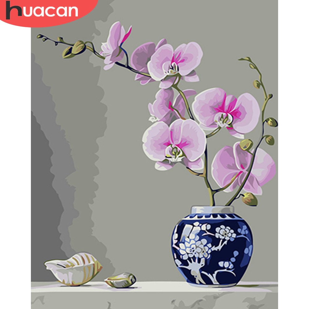HUACAN Coloring Painting Flowers In Vase Kits Drawing Canvas HandPainted DIY Oil Pictures By Numbers Home Decoration Gift