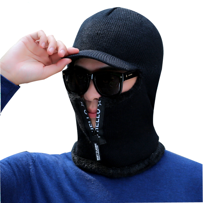 New Balaclava Winter Women Men's Skullies Wool Knitted Balaclava Cap Ninja Mask Thermal Plush Pocket Hat Unisex Snow Cap