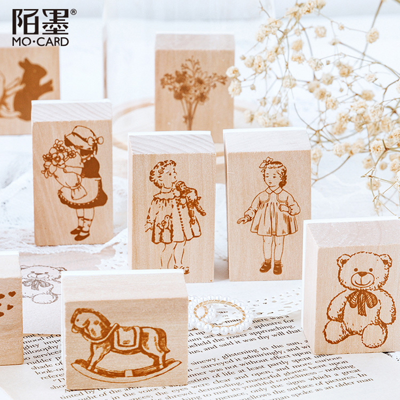 Vintage Cartoon Girl's Daily Life Wood Stamp DIY Wooden Rubber Stamps For Scrapbooking Stationery Scrapbooking Standard Stamp