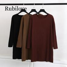 Rubilove Spring Casual T-shirts 4xl Plus Size Women Clothing Fashion Loose Long Sleeve Cotton Tops