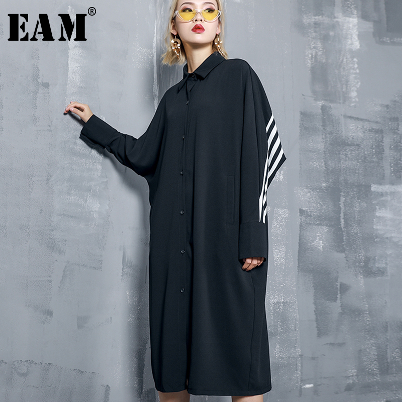 [EAM] Women Black Back Striped Split Joint Big Size Shirt Dress New Lapel Long SleeveLoose Fit Fashion Spring Autumn 2020 1A453