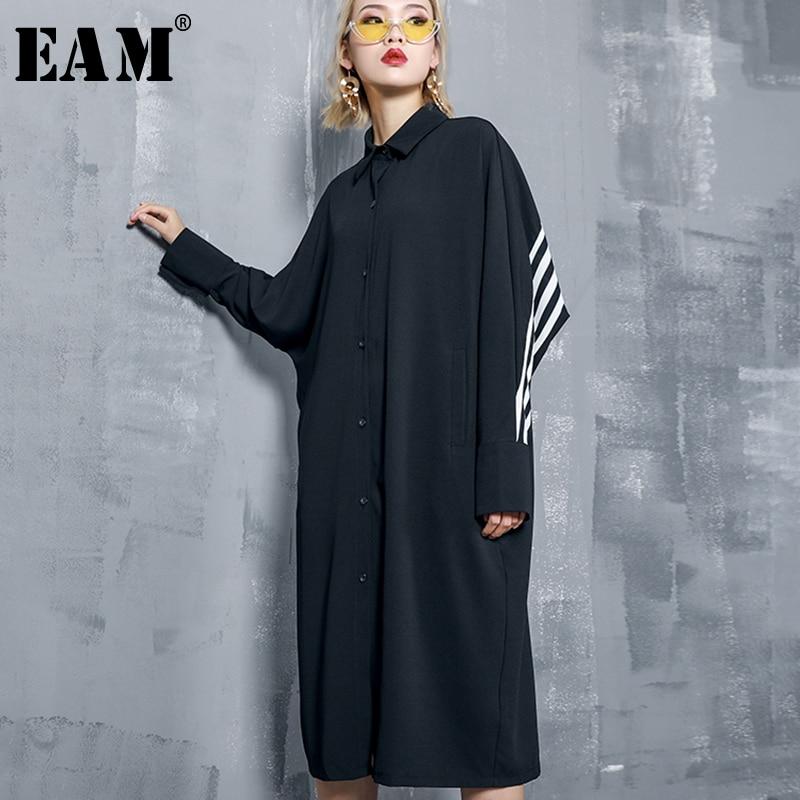 [EAM] Women Black Back Striped Split Joint Big Size Shirt Dress New Lapel Long SleeveLoose Fit Fashion Spring Autumn 2020 1A453