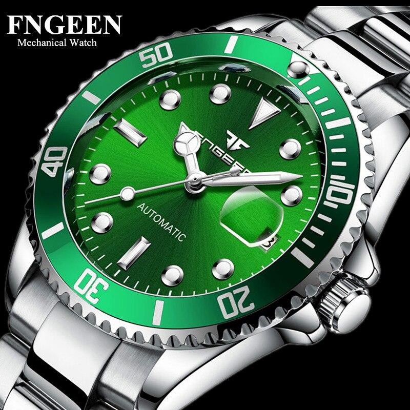 Relogio Luxury FNGEEN Mechanical Watches Men Waterproof Automatic Watch Mens Male Clock Luminous Watches Clock Montre Auto Date