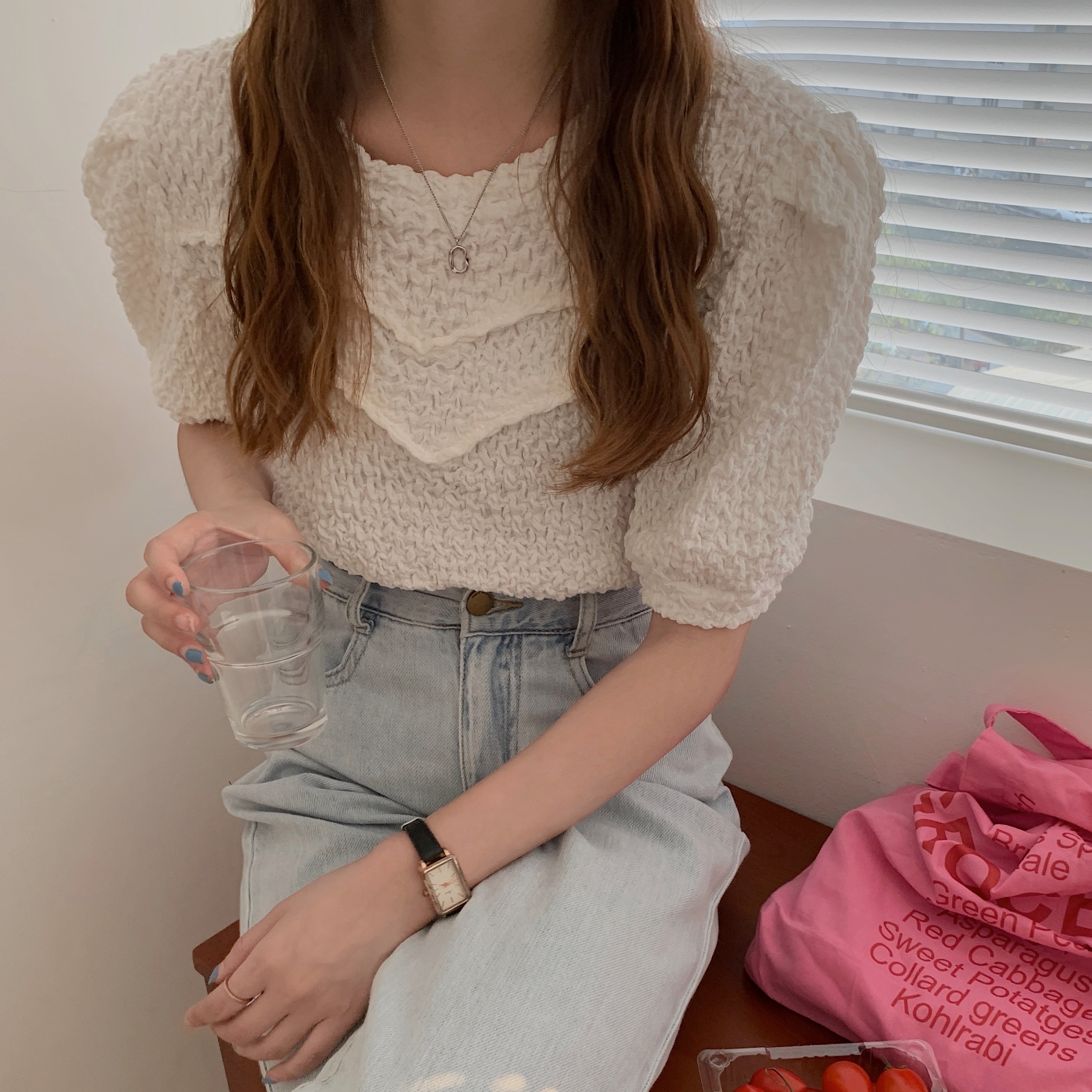 Ha250600b90a8470eb8db4b9f941bf9d2E - Summer O-Neck Short Sleeves Pleated Blouse