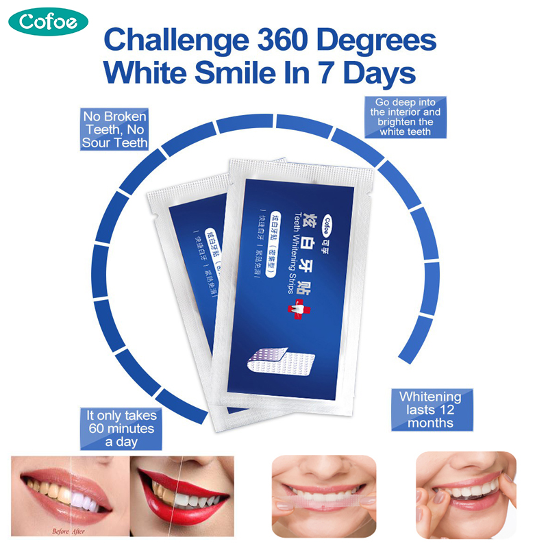 Cofoe 14Pcs/7Pair 3D Advanced White Teeth Whitening Strips Professional Stain Removal For Oral Hygiene Tooth Bleaching Dental