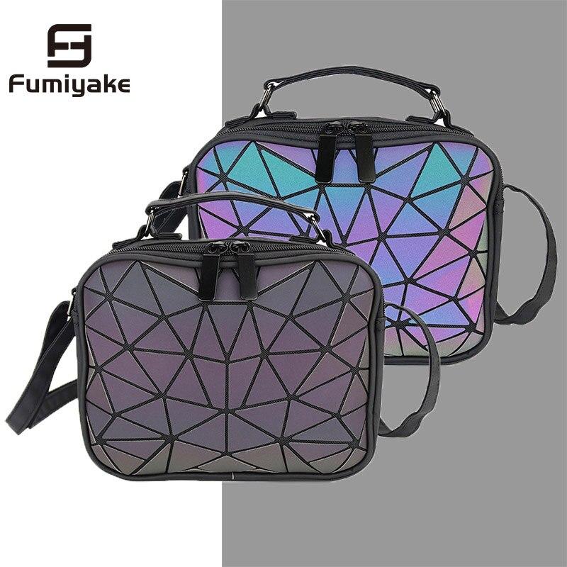 Geometric Purse Holographic Handbag Luminous Satchel Crossbody Wallet Clutch Bags For Women Camera Bag