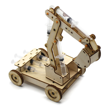Children Educational Science Experiment Technology Toy Set DIY Hydraulic Excavator Model Puzzle Kids Toys wooden hydraulic excavator model handmade scientific experiments steam