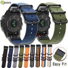Bracelet en Nylon 26 22 20MM pour montre intelligente Garmin Fenix 6X 6 6S /5X 5 5s Plus / Fenix 3 /3 HR/ 935 945