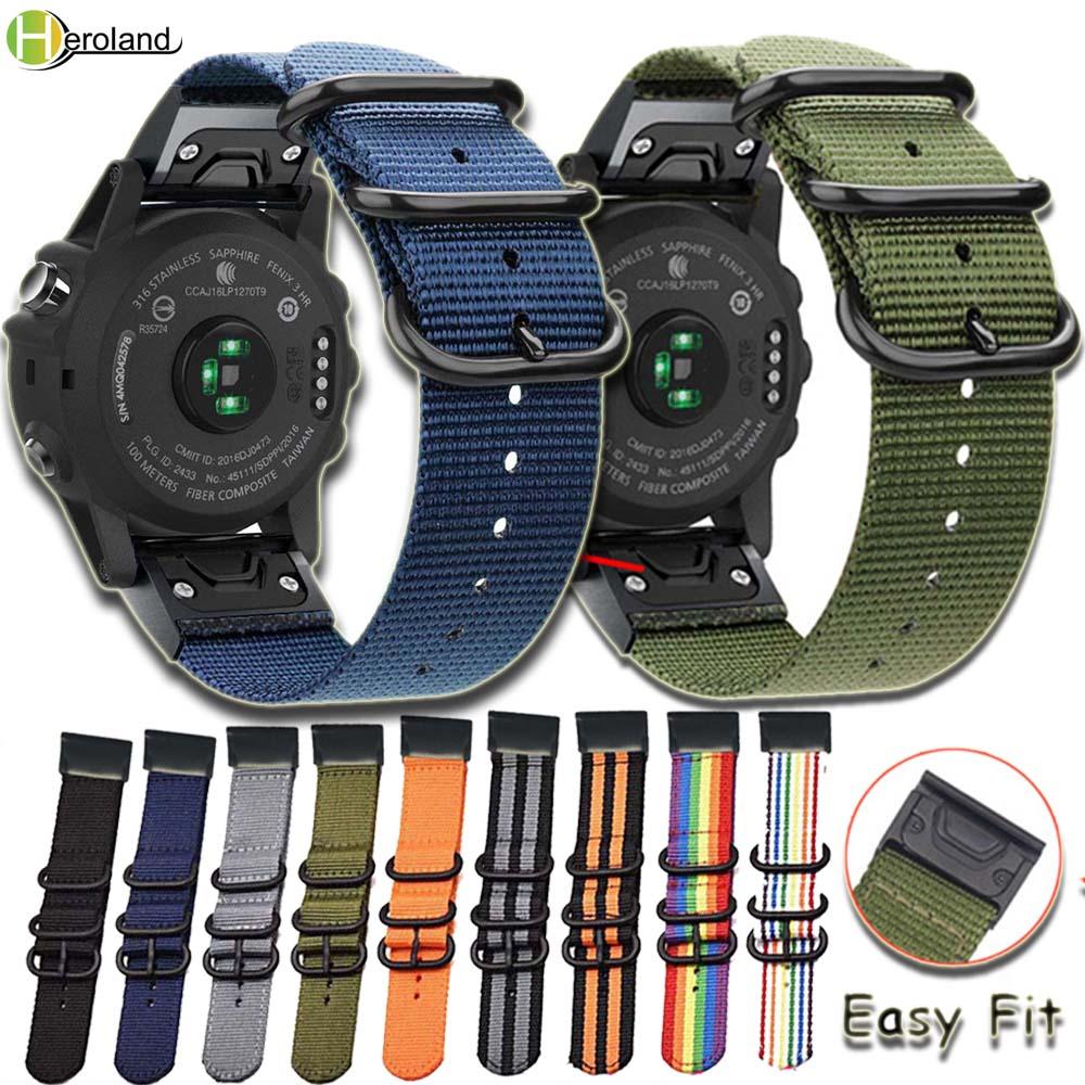 Hero Iand Strap Nylon 26 22 20MM Quick Easy Fit Watch Band For Garmin Fenix 5X 5 5S Plus/Fenix 3/3 HR/935 945 Smart WristBand