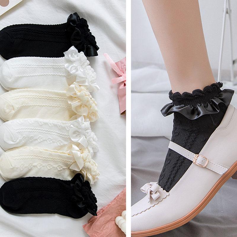 Autumn Retro Lace Short Socks Women Harajuku Sweet Lolita Frilly Ruffle Cotton Princess Socks Girl Soft Solid Meias Ankle Socks