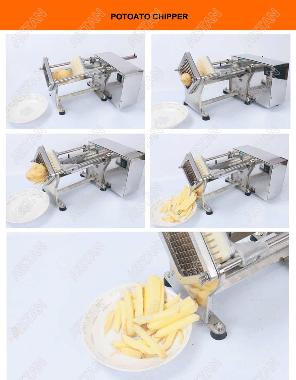 STJ19 Electric Potato Chipper Carrot Slicer Automatic Heavy Duty Stainless Steel 3