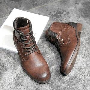 Image 5 - サイズ39〜48秋男性アンクルブーツ2019レトロラバー男性のブーツ # AF3998